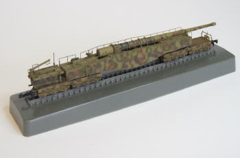 The completed model shown on a display base.